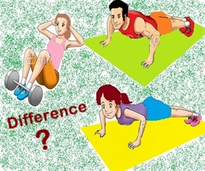 What is the difference between males and females workout